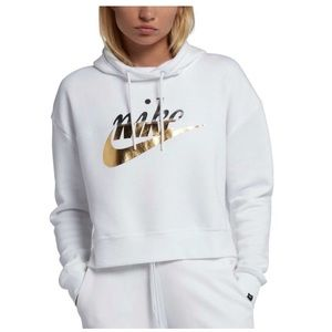 Loose Fit White and Gold Nike Hoodie